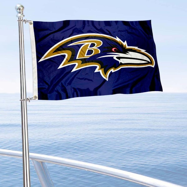 "Our Baltimore Ravens Boat and Nautical Flag is 12""x18"", made of three-ply poly, has a solid header with two metal grommets, and is double sided. This Boat and Nautical Flag for Baltimore Ravens is Officially Licensed by the NFL and can also be used as a motorcycle flag, boat flag, golf cart flag, or recreational flag."