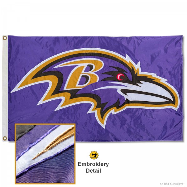 This Baltimore Ravens Embroidered Nylon Flag is double sided, made of nylon, 3'x5', has two metal grommets, indoor or outdoor, and four-stitched fly ends. These Baltimore Ravens Embroidered Nylon Flags are Officially Approved the Baltimore Ravens and NFL.