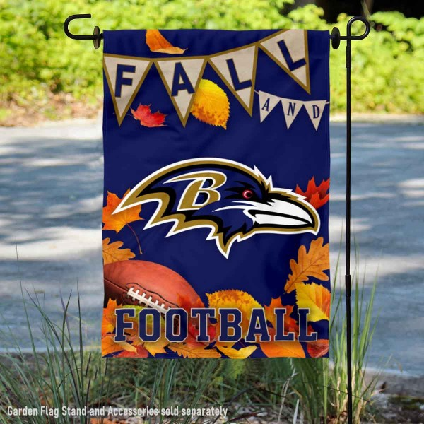 Baltimore Ravens Fall Football Leaves Decorative Double Sided Garden Flag is 12.5x18 inches in size, is made of 2-ply polyester, and has two sided screen printed logos and lettering. Available with Express Next Day Ship, our Baltimore Ravens Fall Football Leaves Decorative Double Sided Garden Flag is NFL Officially Licensed and is double sided.