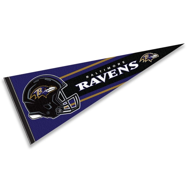 This Baltimore Ravens Football Pennant measures 12x30 inches, is constructed of felt, and is single sided screen printed with the Baltimore Ravens logo and helmets. This Baltimore Ravens Football Pennant is a NFL Officially Licensed product.
