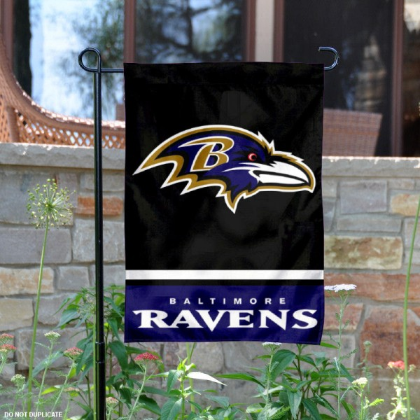 Baltimore Ravens Garden Flag is 12.5x18 inches in size, is made of 2-ply polyester, and has two sided screen printed logos and lettering. Available with Express Next Day Ship, our Baltimore Ravens Garden Flag is NFL Officially Licensed and is double sided.