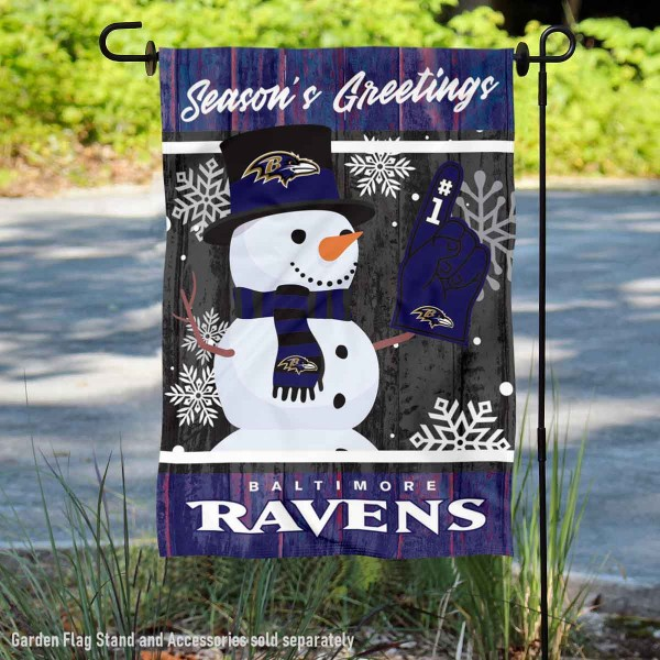 Baltimore Ravens Holiday Winter Snow Double Sided Garden Flag is 12.5x18 inches in size, is made of 2-ply polyester, and has two sided screen printed logos and lettering. Available with Express Next Day Ship, our Baltimore Ravens Holiday Winter Snow Double Sided Garden Flag is NFL Officially Licensed and is double sided.