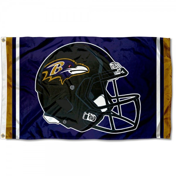 Our Baltimore Ravens New Helmet Flag is two sided, made of poly, 3'x5', Overnight Shipping, has two metal grommets, indoor or outdoor, and four-stitched fly ends. These Baltimore Ravens New Helmet Flags are Officially Approved by the Baltimore Ravens.