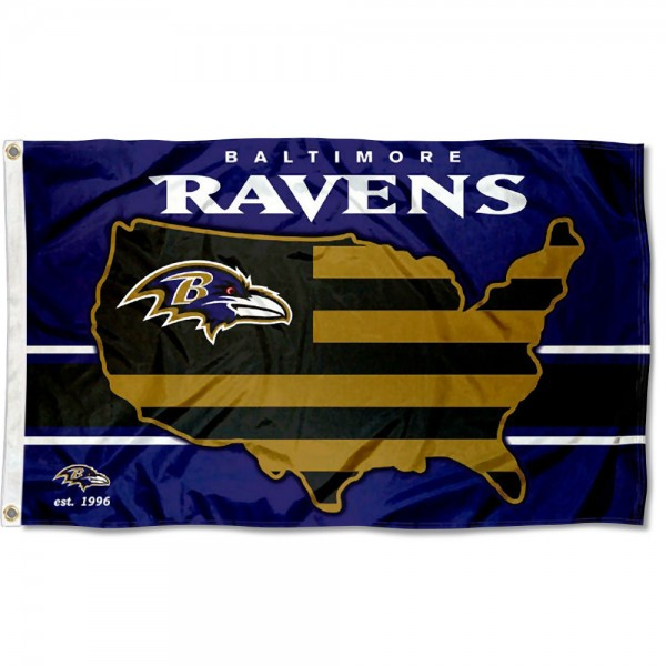 Our Baltimore Ravens USA Country Flag is double sided, made of poly, 3'x5', has two metal grommets, indoor or outdoor, and four-stitched fly ends. These Baltimore Ravens USA Country Flags are Officially Approved by the Baltimore Ravens.