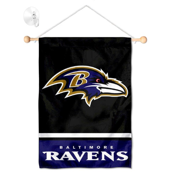 "Baltimore Ravens Window and Wall Banner kit includes our 12.5""x18"" garden banner which is made of 2 ply poly with liner and has screen printed licensed logos. Also, a 17"" wide banner pole with suction cup is included so your Baltimore Ravens Window and Wall Banner is ready to be displayed with no tools needed for setup. Fast Overnight Shipping is offered and the flag is Officially Licensed and Approved by the selected team."