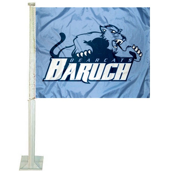 Baruch Bearcats Logo Car Flag measures 12x15 inches, is constructed of sturdy 2 ply polyester, and has screen printed school logos which are readable and viewable correctly on both sides. Baruch Bearcats Logo Car Flag is officially licensed by the NCAA and selected university.