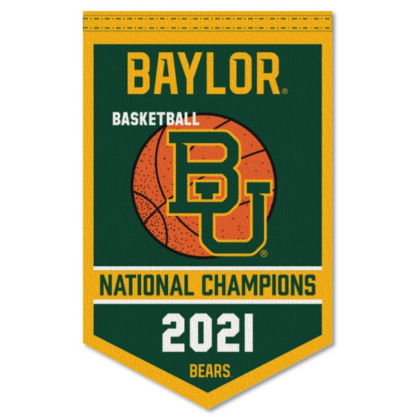 Baylor Bears 2021 Basketball National Champions Banner consists of our sports dynasty year banner which measures 15x24 inches, is constructed of rigid felt, is single sided imprinted, and offers a pennant sleeve for insertion of a pennant stick, if desired. This sports banner is a unique collectible and keepsake of the legacy game and is Officially Licensed and University, School, and College Approved.