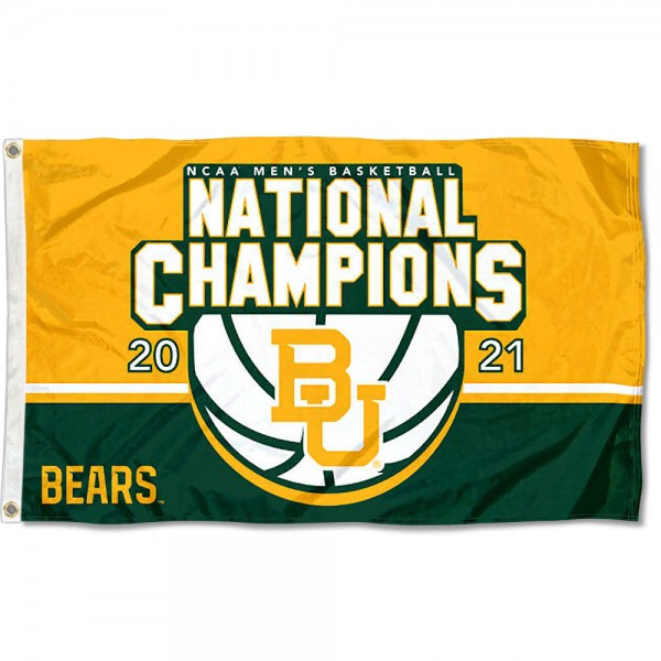 Baylor Bears 2021 Basketball National Champions Flag measures 3x5 feet, is made of 100% polyester, offers quadruple stitched flyends, has two metal grommets, and offers screen printed NCAA team logos and insignias. Our Baylor Bears 2021 Basketball National Champions Flag is officially licensed by the selected university and NCAA.