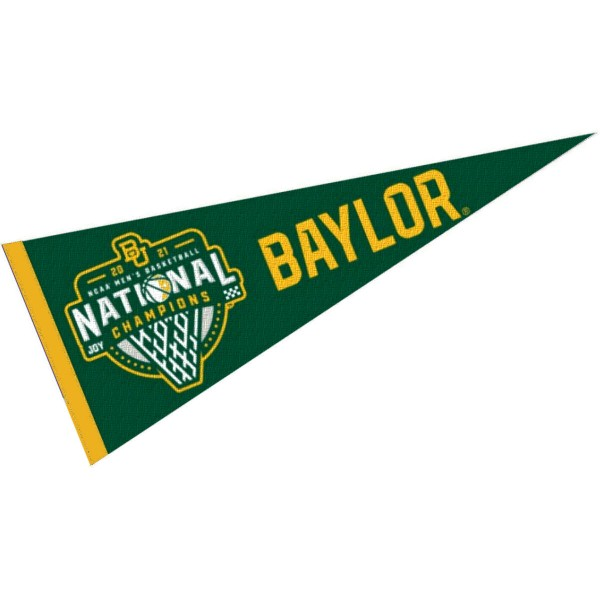 Baylor Bears 2021 Mens Basketball National Champions Pennant Flag consists of our full size sports pennant which measures 12x30 inches, is constructed of felt, is single sided imprinted, and offers a pennant sleeve for insertion of a pennant stick, if desired. This Baylor Bears Pennant Decorations is Officially Licensed by the selected university and the NCAA.