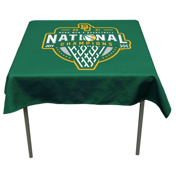Baylor Bears 2021 National Basketball Championship Table Cloth measures 48 x 48 inches, is made of 100% Polyester, seamless one-piece construction, and is perfect for any tailgating table, card table, or wedding table overlay. Each includes Officially Licensed Logos and Insignias.
