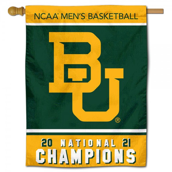 """Baylor Bears 2021 National Champions Banner Flag is constructed of polyester material, is a vertical house flag, measures 30""""x40"""", offers screen printed athletic insignias, and has a top pole sleeve to hang vertically. Our Baylor Bears 2021 National Champions Banner Flag is Officially Licensed by Baylor Bears and NCAA."""