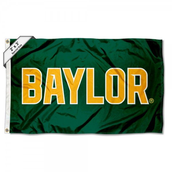 Baylor Bears 2x3 Foot Small Flag measures 2x3 feet, is made of 100% polyester, offers quadruple stitched flyends, has two brass grommets, and offers printed Baylor Bears logos, letters, and insignias. Our 2x3 foot flag is Officially Licensed by the selected university.