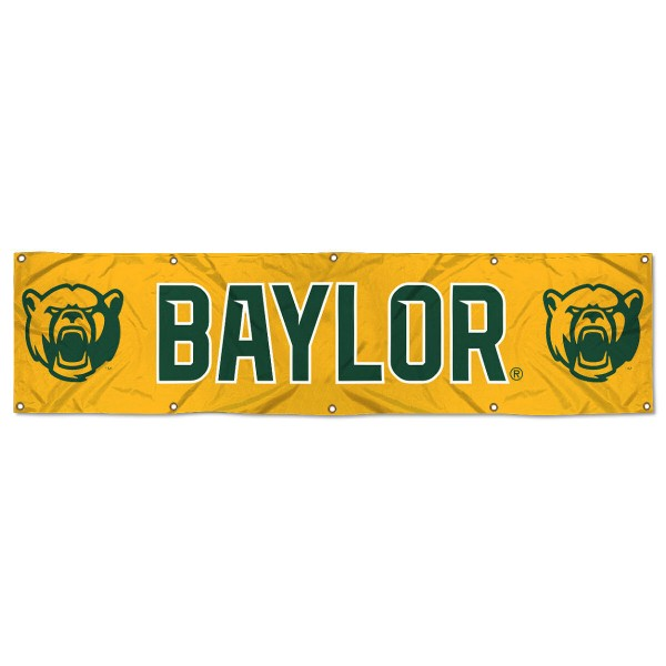 Baylor Bears 8 Foot Large Banner measures 2x8 feet and displays Baylor Bears logos. Our Baylor Bears 8 Foot Large Banner is made of thick polyester and ten grommets around the perimeter for hanging securely. These banners for Baylor Bears are officially licensed by the NCAA.