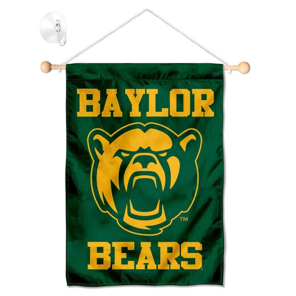 "Baylor Bears Banner with Suction Cup kit includes our 13""x18"" garden banner which is made of 2 ply poly with liner and has screen printed licensed logos. Also, a 17"" wide banner pole with suction cup is included so your Baylor Bears Banner with Suction Cup is ready to be displayed with no tools needed for setup. Fast Overnight Shipping is offered and the flag is Officially Licensed and Approved by the selected team."