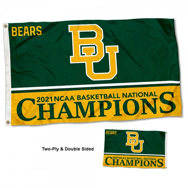 Baylor Bears Basketball National Champions Double Sided Flag measures 3'x5', is made of 2 layer 100% polyester, has quadruple stitched flyends for durability, and is readable correctly on both sides. Our Baylor Bears Basketball National Champions Double Sided Flag is officially licensed by the university, school, and the NCAA.