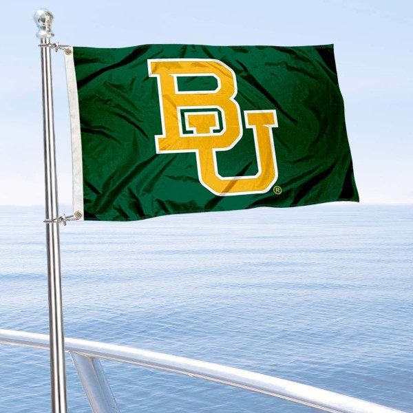 Baylor Bears Boat and Mini Flag is 12x18 inches, polyester, offers quadruple stitched flyends for durability, has two metal grommets, and is double sided. Our mini flags for Baylor Bears are licensed by the university and NCAA and can be used as a boat flag, motorcycle flag, golf cart flag, or ATV flag.