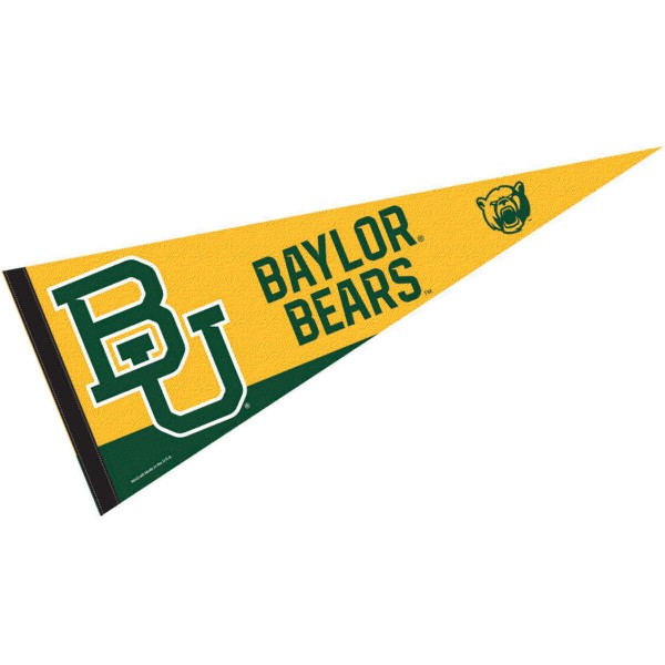 Baylor Bears BU Logo Pennant is 12x30 inches, is made of wool and felt, has a pennant stick sleeve, and the Baylor Bears logos are single sided screen printed. Our Baylor Bears BU Logo Pennant is licensed by the university.