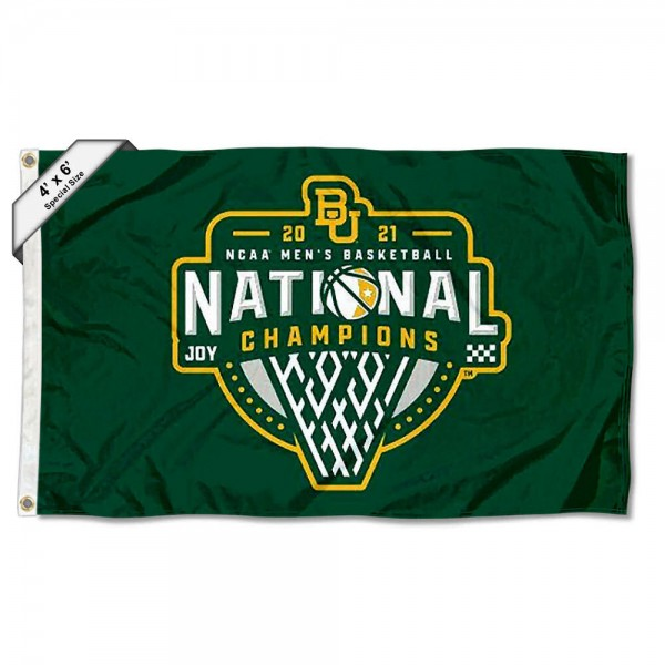 Baylor Bears College Basketball National Champions Large 4x6 Flag measures 4x6 feet, is made thick woven polyester, has quadruple stitched flyends, two metal grommets, and offers screen printed NCAA Baylor Bears Large athletic logos and insignias. Our Baylor Bears College Basketball National Champions Large 4x6 Flag is officially licensed by Baylor Bears and the NCAA.