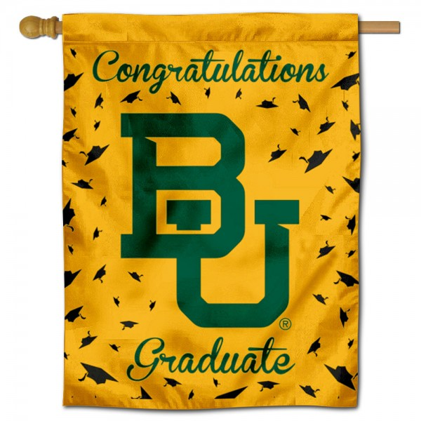 Baylor Bears Congratulations Graduate Flag measures 30x40 inches, is made of poly, has a top hanging sleeve, and offers dye sublimated Baylor Bears logos. This Decorative Baylor Bears Congratulations Graduate House Flag is officially licensed by the NCAA.