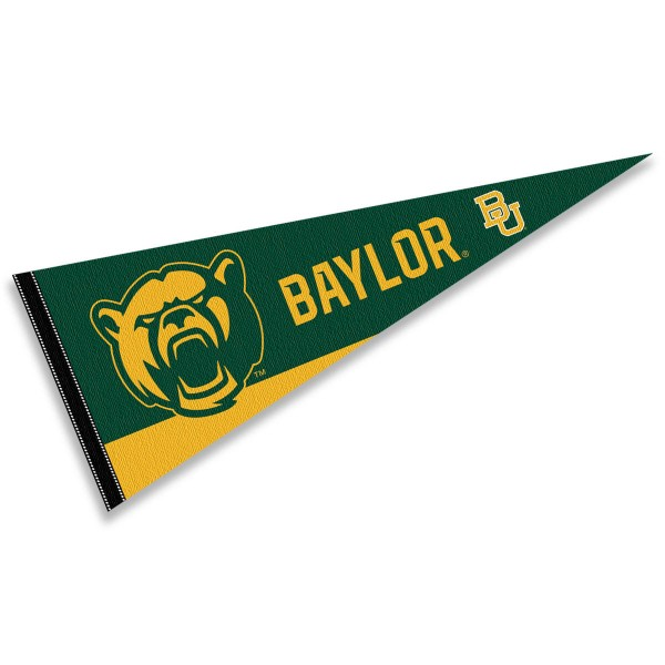 Baylor Bears Decorations consists of our full size pennant which measures 12x30 inches, is constructed of felt, is single sided imprinted, and offers a pennant sleeve for insertion of a pennant stick, if desired. This Baylor Bears Decorations is officially licensed by the selected university and the NCAA.