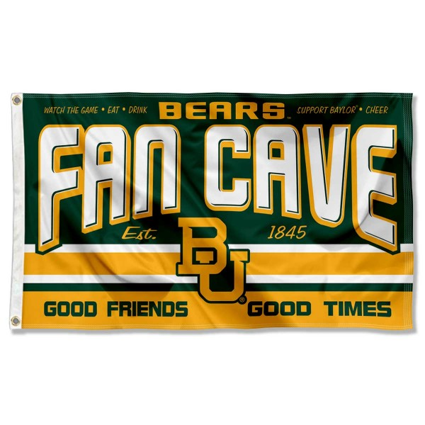 Baylor Bears Fan Man Cave Game Room Banner Flag measures 3x5 feet, is made of 100% polyester, offers quadruple stitched flyends, has two metal grommets, and offers screen printed NCAA team logos and insignias. Our Baylor Bears Fan Man Cave Game Room Banner Flag is officially licensed by the selected university and NCAA.