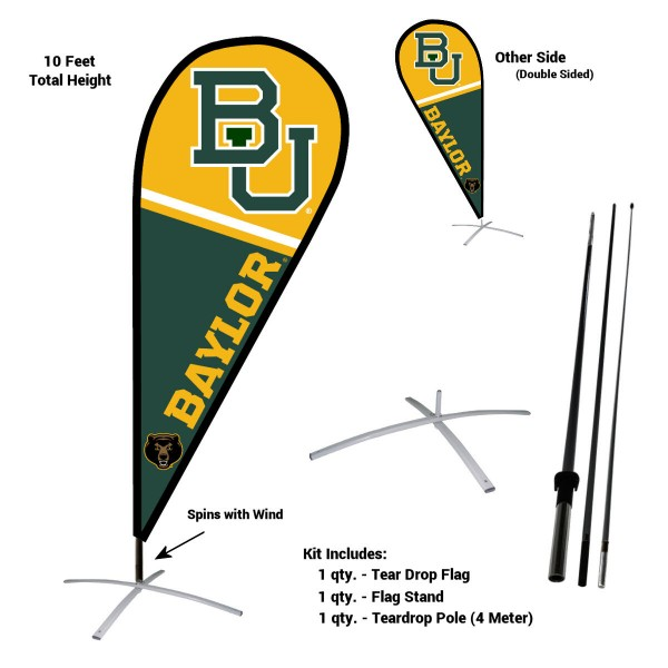 Baylor Bears Feather Flag Kit measures a tall 10' when fully assembled. The kit includes a Feather Flag, 3 Piece Fiberglass Pole, and matching Metal Feather Flag Stand. Our Baylor Bears Feather Flag Kit easily assembles and is NCAA Officially Licensed by the selected school or university.