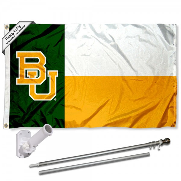 Our Baylor Bears Flag Pole and Bracket Kit includes the flag as shown and the recommended flagpole and flag bracket. The flag is made of polyester, has quad-stitched flyends, and the NCAA Licensed team logos are double sided screen printed. The flagpole and bracket are made of rust proof aluminum and includes all hardware so this kit is ready to install and fly.
