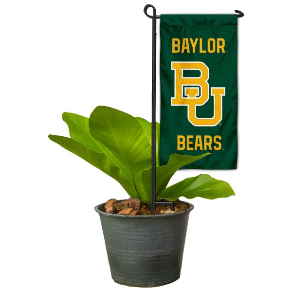 """Baylor Bears Flower Pot Topper Flag kit includes our 4""""x8"""" mini garden banner and 6"""" x 14"""" mini garden banner stand. The mini flag is made of 1-ply polyester, has screen printed logos and the garden stand is made of steel and powder coated black. This kit is NCAA Officially Licensed by the selected college or university."""