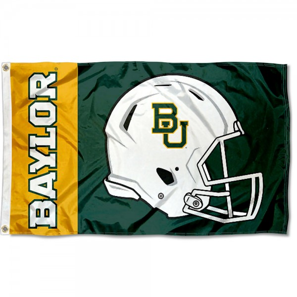 Baylor Bears Football Helmet Flag measures 3x5 feet, is made of 100% polyester, offers quadruple stitched flyends, has two metal grommets, and offers screen printed NCAA team logos and insignias. Our Baylor Bears Football Helmet Flag is officially licensed by the selected university and NCAA.