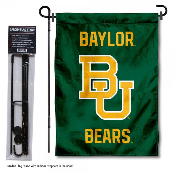 "Baylor Bears Garden Flag and Pole Stand Mount kit includes our 13""x18"" garden banner which is made of 2 ply poly with liner and has screen printed licensed logos. Also, a 40""x17"" inch garden flag stand is included so your Baylor Bears Garden Flag and Pole Stand Mount is ready to be displayed with no tools needed for setup. Fast Overnight Shipping is offered and the flag is Officially Licensed and Approved by the selected team."