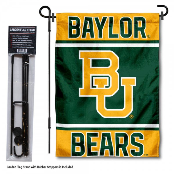 "Baylor Bears Garden Flag and Pole Stand Holder kit includes our 13""x18"" garden banner which is made of 2 ply poly with liner and has screen printed licensed logos. Also, a 40""x17"" inch garden flag stand is included so your Baylor Bears Garden Flag and Pole Stand Holder is ready to be displayed with no tools needed for setup. Fast Overnight Shipping is offered and the flag is Officially Licensed and Approved by the selected team."