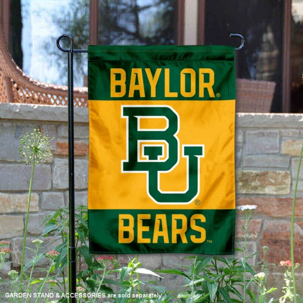 Baylor Bears Gold Garden Flag is 13x18 inches in size, is made of 2-layer polyester, screen printed university athletic logos and lettering, and is readable and viewable correctly on both sides. Available with same day shipping, our Baylor Bears Gold Garden Flag is officially licensed and team approved by the university and the NCAA.