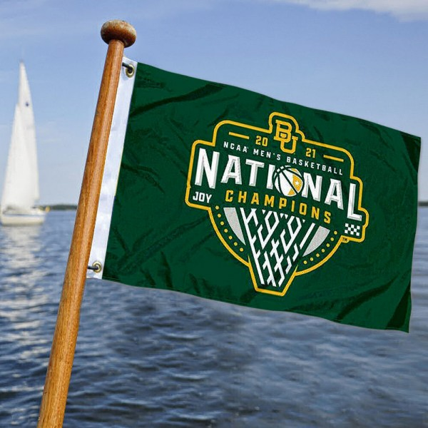 Baylor Bears Mens Basketball National Champions Boat and Mini Flag is 12x18 inches, polyester, offers quadruple stitched flyends for durability, has two metal grommets, and is double sided. Our mini flags for Baylor Bears are licensed by the university and NCAA and can be used as a boat flag, motorcycle flag, golf cart flag, or ATV flag.