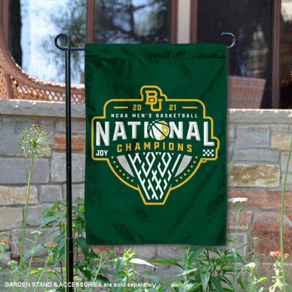 Baylor Bears Mens Basketball National Champions Double Sided Garden Flag is 13x18 inches in size, is made of 2-layer polyester, screen printed university athletic logos and lettering, and is readable and viewable correctly on both sides. Available same day shipping, our Baylor Bears Mens Basketball National Champions Double Sided Garden Flag is officially licensed and approved by the university and the NCAA.