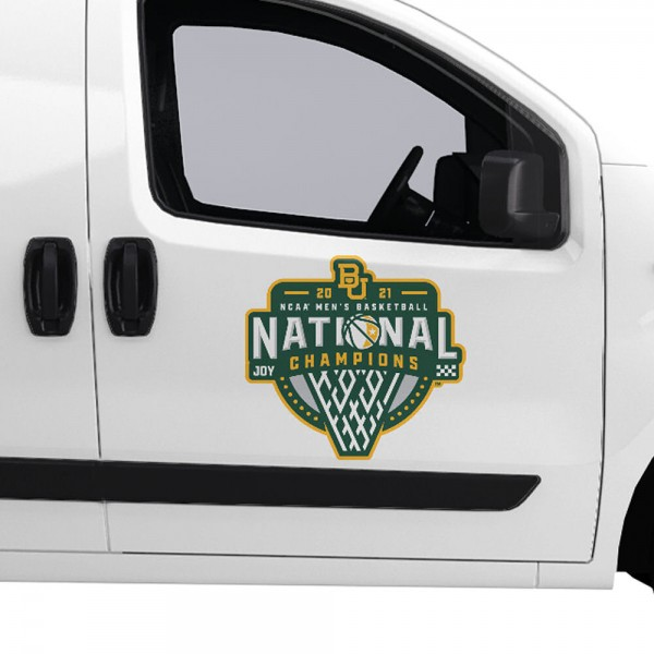 Baylor Bears National Basketball Champion Large Magnet is ideal for inside or outside uses, car and auto door panels, and a great gift idea. Each magnet is a large 16x16 inches, is made of flexible 20 mil magnetic vinyl and has screen printed school logos and team names and slogans.