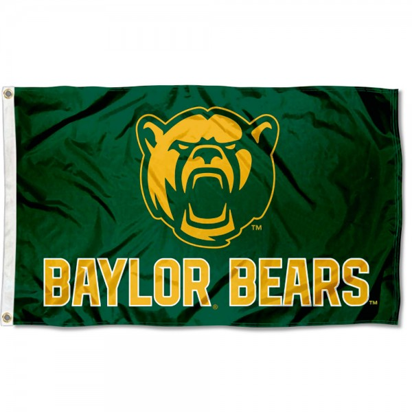 Baylor Bears New Bear Flag measures 3x5 feet, is made of 100% polyester, offers quadruple stitched flyends, has two metal grommets, and offers screen printed NCAA team logos and insignias. Our Baylor Bears New Bear Flag is officially licensed by the selected university and NCAA.