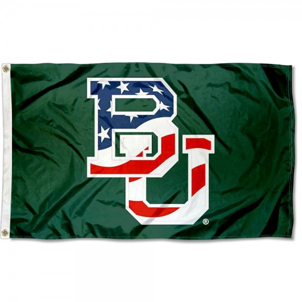 Baylor Bears Patriotic Flag measures 3x5 feet, is made of 100% polyester, offers quadruple stitched flyends, has two metal grommets, and offers screen printed NCAA team logos and insignias. Our Baylor Bears Patriotic Flag is officially licensed by the selected university and NCAA.