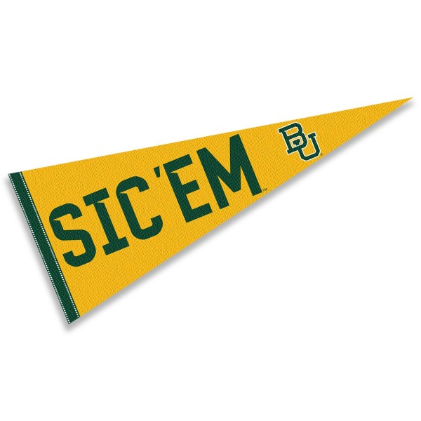 Baylor Bears Sic Em Bears Pennant consists of our full size sports pennant which measures 12x30 inches, is constructed of felt, is single sided imprinted, and offers a pennant sleeve for insertion of a pennant stick, if desired. This Baylor Bears Pennant Decorations is Officially Licensed by the selected university and the NCAA.