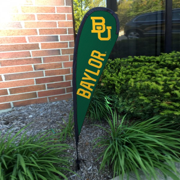 Baylor Bears Small Feather Flag measures a 4' tall when fully assembled and roughly 1' wide. The kit includes a Feather Flag, 2 Piece Fiberglass Pole, pole connector, and matching Ground Stake. Our Baylor Bears Small Feather Flag easily assembles and is NCAA Officially Licensed by the selected school or university.
