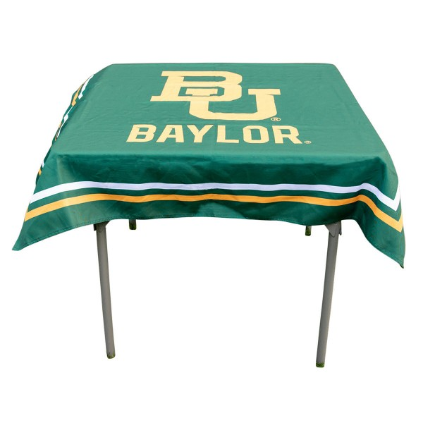Baylor Bears Table Cloth measures 48 x 48 inches, is made of 100% Polyester, seamless one-piece construction, and is perfect for any tailgating table, card table, or wedding table overlay. Each includes Officially Licensed Logos and Insignias.