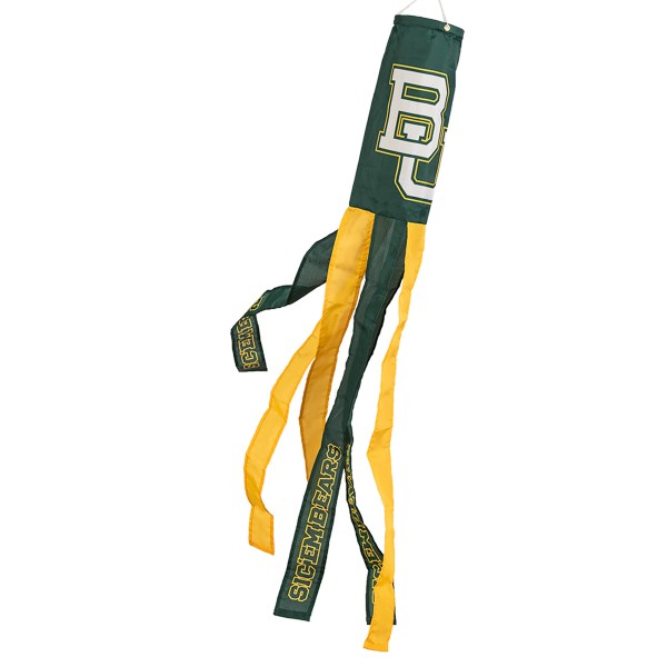 """Baylor Bears Windsock measures 40"""" in length by 5"""" in width, is made of 100% polyester, offers screen printed NCAA team logos, team names and insignias, has 6 alternative colored streamers and tails, includes a double stringed bridle and hanging swivel clip, and our Baylor Bears Windsock is authentic, licensed, and approved by the selected university or team."""