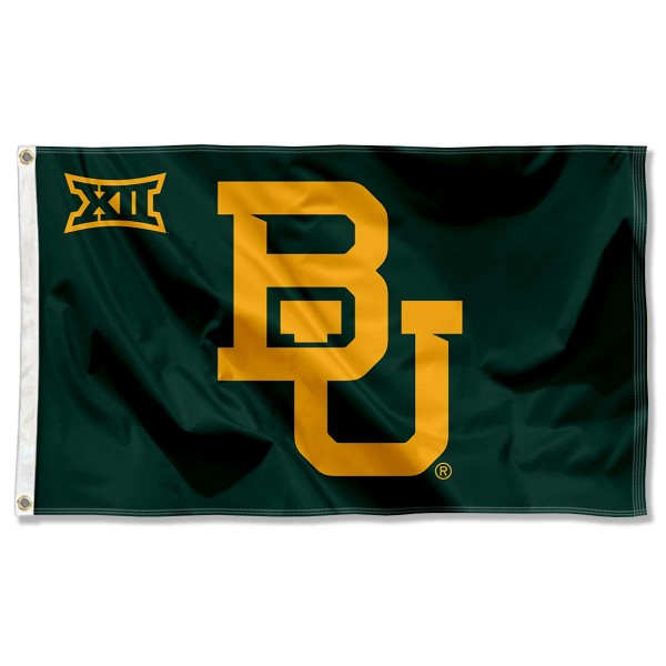 Baylor Big 12 Flag measures 3'x5', is made of 100% poly, has quadruple stitched sewing, two metal grommets, and has double sided Team University logos. Our Baylor Big 12 Flag is officially licensed by the selected university and the NCAA.