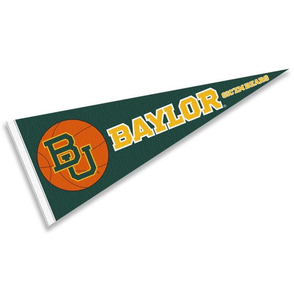 Baylor BU Bears Basketball Pennant consists of our full size sports pennant which measures 12x30 inches, is constructed of felt, is single sided imprinted, and offers a pennant sleeve for insertion of a pennant stick, if desired. This Baylor BU Bears Pennant Decorations is Officially Licensed by the selected university and the NCAA.