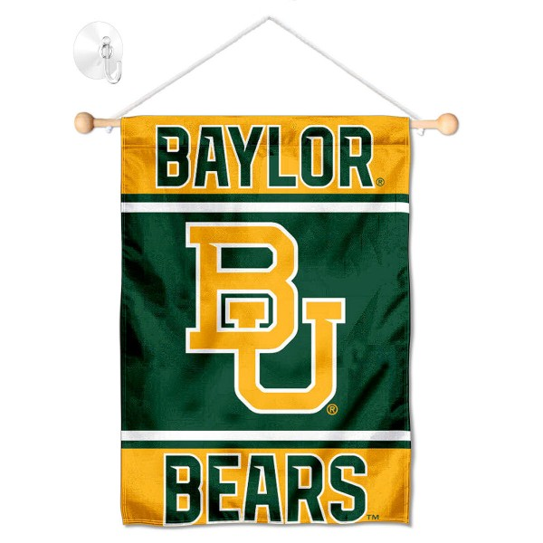 "Baylor BU Bears Window and Wall Banner kit includes our 13""x18"" garden banner which is made of 2 ply poly with liner and has screen printed licensed logos. Also, a 17"" wide banner pole with suction cup is included so your Baylor BU Bears Window and Wall Banner is ready to be displayed with no tools needed for setup. Fast Overnight Shipping is offered and the flag is Officially Licensed and Approved by the selected team."