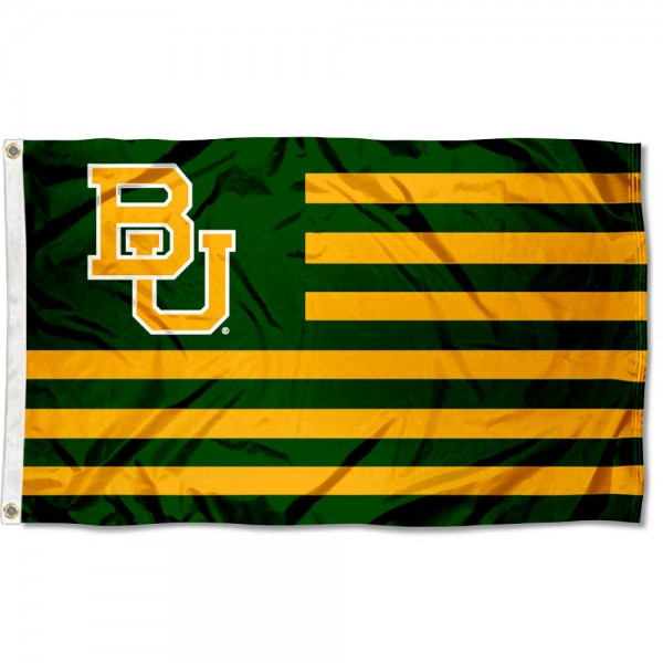 Baylor Striped Flag measures 3'x5', is made of polyester, offers quadruple stitched flyends for durability, has two metal grommets, and is viewable from both sides with a reverse image on the opposite side. Our Baylor Striped Flag is officially licensed by the selected school university and the NCAA