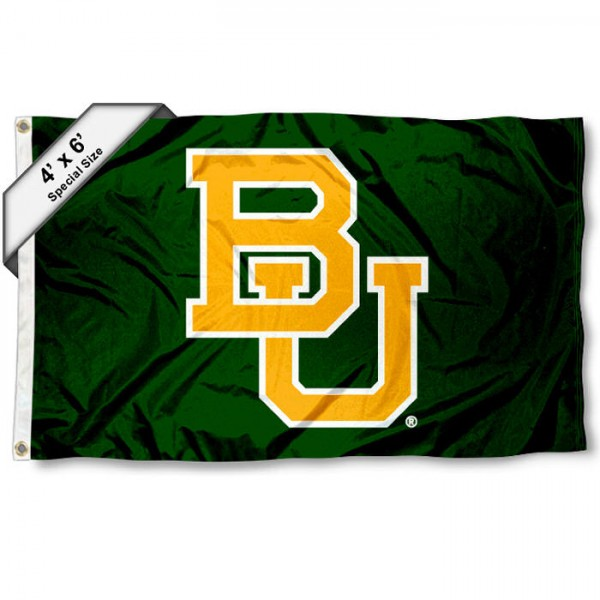 Baylor University 4x6 Flag measures a large 4x6 feet, is made of 100% polyester, offers quadruple stitched flyends, has two metal grommets, and offers screen printed NCAA athletic logos and lettering. Our Baylor University 4x6 Flag is Officially Licensed by the selected school and NCAA.