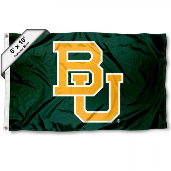 Baylor University 6'x10' Flag measures 6x10 feet, is made of thick poly, has quadruple-stitched fly ends, and BU Bears logos are screen printed into the BU Bears 6'x10' Flag. This 6'x10' Flag is officially licensed by and the NCAA.