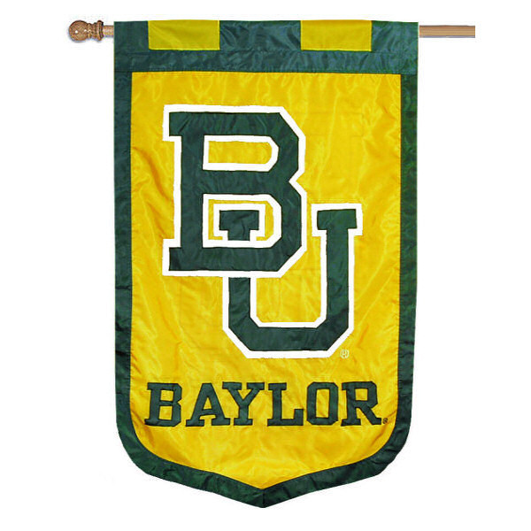 Baylor University Banner Flag measures 35x52 inches, is made of 100% thick nylon, offers embroidered NCAA team insignias, and has a top pole sleeve to hang vertically. Our Baylor University Banner Flag is officially licensed by the selected university and the NCAA