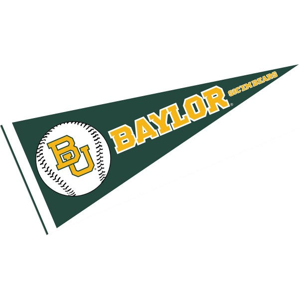 Baylor University Baseball Pennant consists of our full size sports pennant which measures 12x30 inches, is constructed of felt, is single sided imprinted, and offers a pennant sleeve for insertion of a pennant stick, if desired. This Baylor Bears Pennant Decorations is Officially Licensed by the selected university and the NCAA.