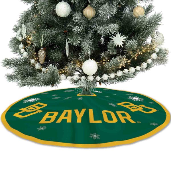 Baylor University Bears Christmas Tree Skirt measures 56 inches circle, is made of 150d polyester, has a contrasting color border. Each college xmas tree skirt includes Officially Licensed Logos and Insignias.